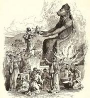 Artist's depiction of offering a child to Molech