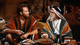 "From the movie ""The Ten Commandments,"" Moses (Charlton Heston) and his father-in-law Jethro."