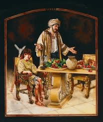 Mephibosheth, the man lame in both feet, eats at the king's table.