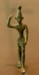 A bronze statue of Baal discovered at Ugarit from the 14th-12th centuries B.C.