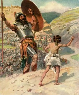 In this picture by James Tissot, Goliath is pictured as falling backward when he is hit by David's stone.