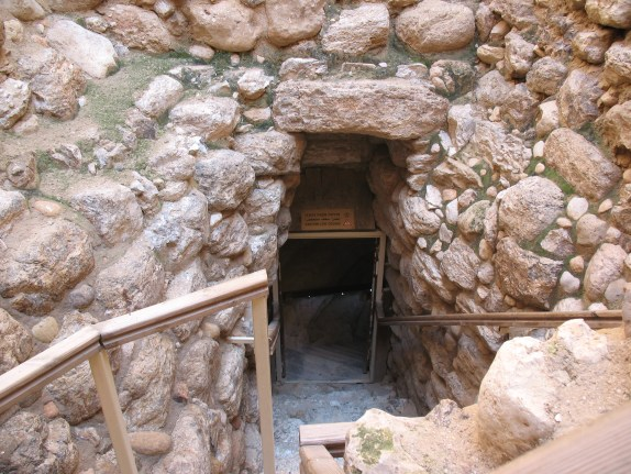 The entrance to the tunnel at the bottom of the shaft at Tel Beersheba