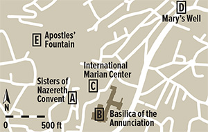 This map taken from Ken Dark's article in BAR shows the site of the Sisters of Nazareth Convent, as well as other significant sites in Nazareth.