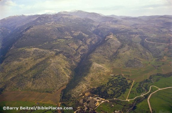 Caesarea Philippi/Banias sits at the foot of Mount Hermon in this photo, a mountain believed to be the dwelling abode of Baal in ancient times.