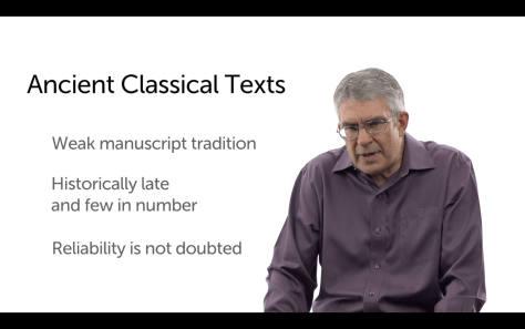 Dr. Evans compares the evidence of other classical documents and demonstrates the preservation of New Testament manuscripts is far superior.