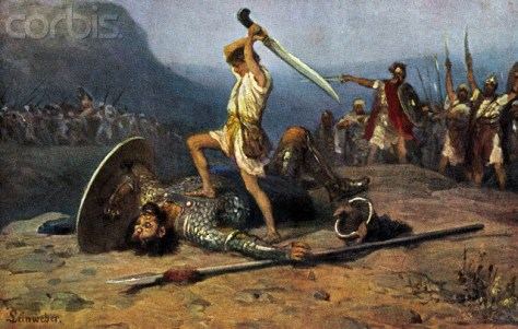 Illustration of David Killing Goliath by Anton Robert Leinweber --- Image by © Lebrecht Authors/Lebrecht Music & Arts/Corbis