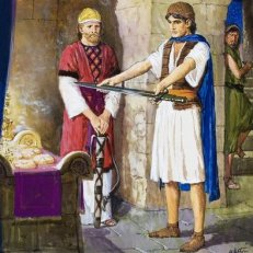 Contrary to Arnold's interpretation in the NIV Application Commentary on 1&2 Samuel, I believe David's request for a sword demonstrates a lack of faith.