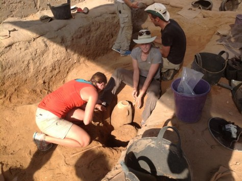 Excavating the Philistine cemetery at Ashkelon.