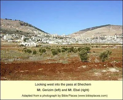 Mount Gerazim and Mount Ebal. The vicinity of ancient Shechem.