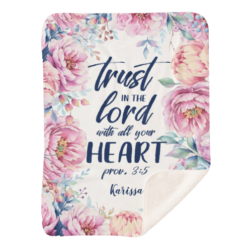 Blanket with words Trust in the LORD with all your heart