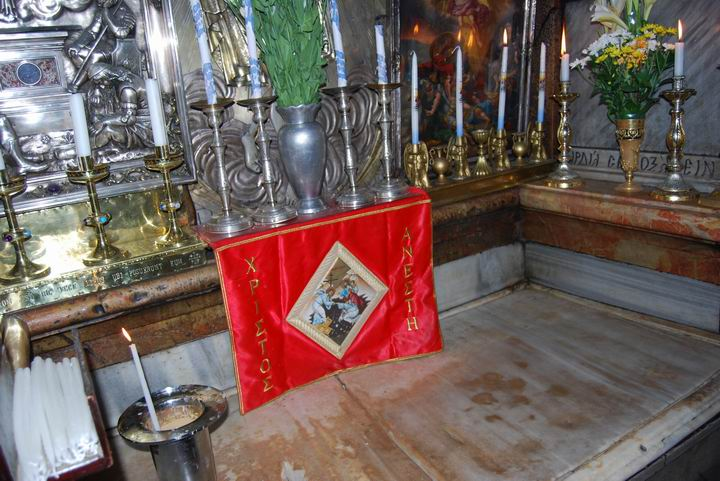 Interior of the tomb of Jesus.