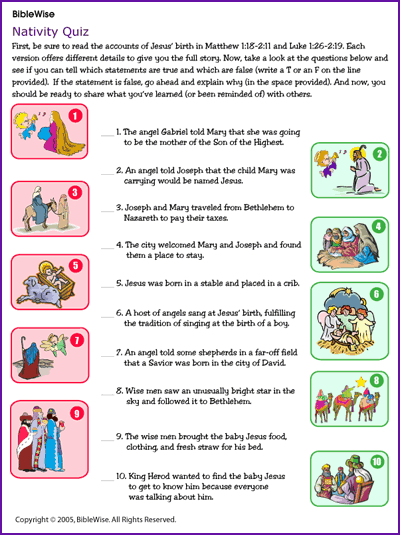 Nativity Quiz Jesus Birth Christmas Kids Korner