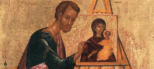 Luke the Evangelist Painting Icon of Virgin Mary with Baby Jesus
