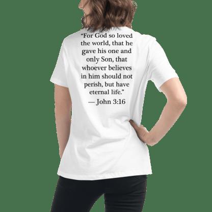 Bilingual women's t-shirt with English translation of Bible verse on back (John 3:16)