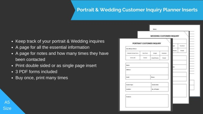 Portrait & Wedding Customer Inquiry Printable Insert