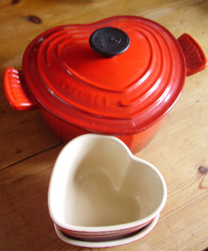 Heart-shaped Le Creuset dishes
