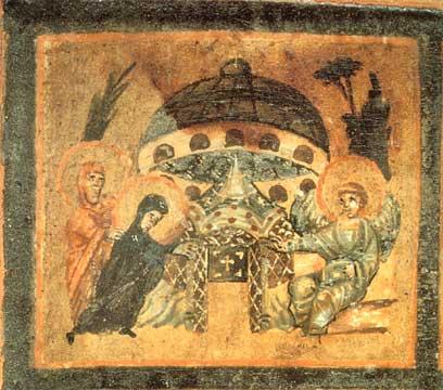 LE MARIE AL SEPOLCRO Particolare del coperchio di un reliquiario (Museo Sacro Vaticano, Roma)