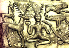 Calderone di Gundestrup: immagine del Dio Cervo.
