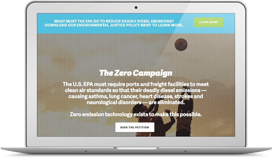 The Zero Campaign website viewed on a laptop