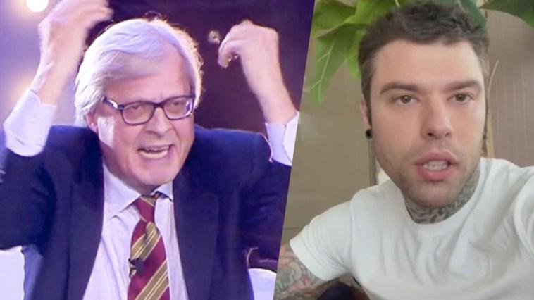 """Vittorio Sgarbi e Fedez litigano sui social: """"Caprone ignorante! Patato"""""""