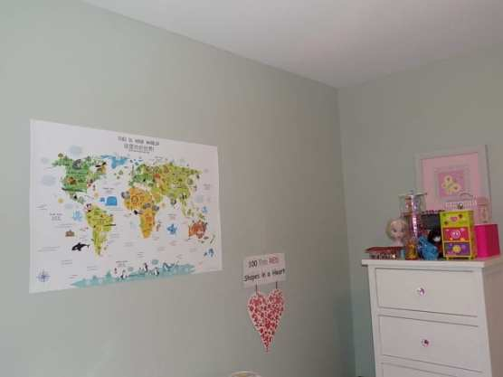 The PIctureta English-Chinese World Maps displayed in my daughter's room. [Photo: Bicultural Mama]