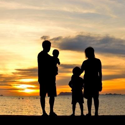 bicultural family at beach