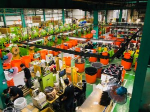 A look down at a section of the Jagwire factory.
