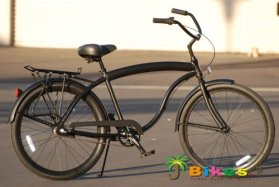 J Bikes Hawk Aluminum 3-Speed, Matte Black – Men's 26″ Beach Cruiser Bicycle with Alloy Rear Rack