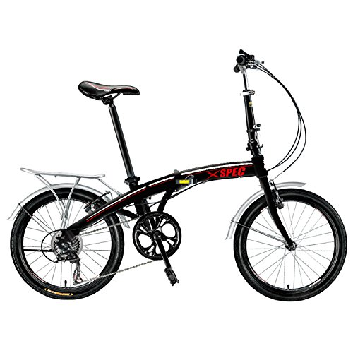 Xspec 20″ 7 Speed City Folding Compact Bike Bicycle Urban Commuter Shimano Black