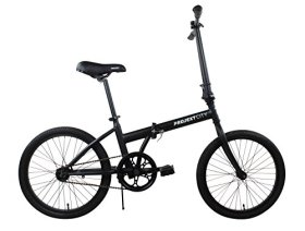 Projekt City – 20″ inch City Bike Compact Folding Single Speed Uno College Bicycle, Black (Matte Black)