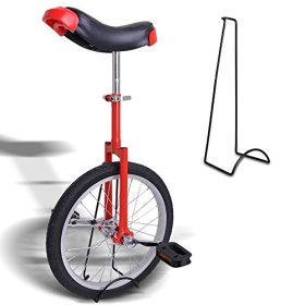 AW 18″ Red Unicycle w/ Stand Chrome Unicycles Wheel Cycling Outdoor Sports Fitness Exercise Health