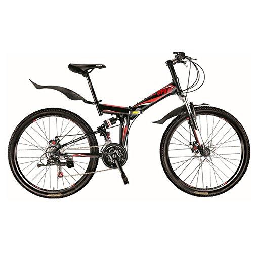 Xspec 26″ 21 Speed Folding Mountain Bike Bicycle Trail Commuter Shimano Black