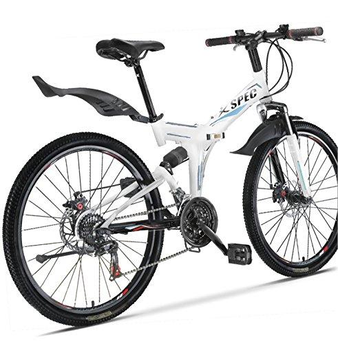 Xspec 26″ 21 Speed Folding Mountain Bike Bicycle Trail Commuter Shimano White