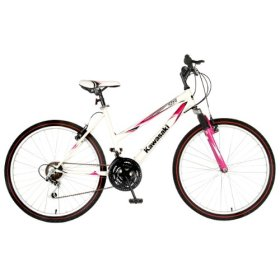 Kawasaki K26G Hardtail Mountain Bike, 26 inch Wheels, 18 inch Frame, Women's Bike, White/Pink