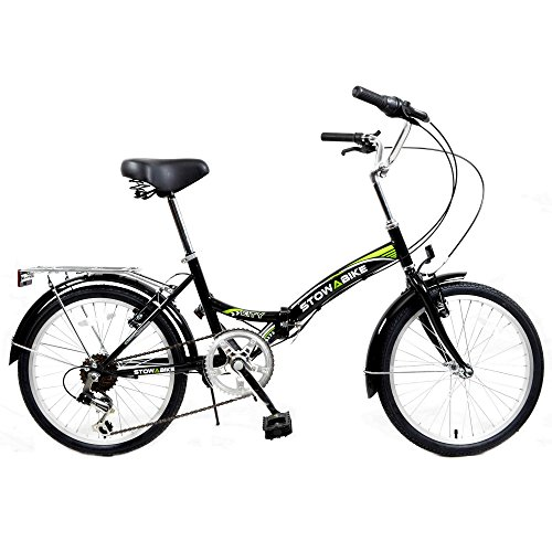 Stowabike 20″ Folding City V2 Compact Foldable Bike – 6 Speed Shimano Gears Black