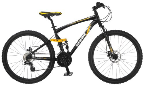 Mongoose Stasis Expert 26-Inch Full Suspension Mountain Bicycle, Matte Black, 18-Inch Frame