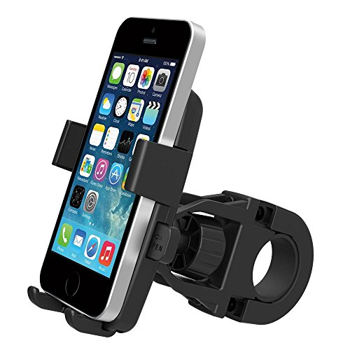 MsFeng One-Touch Mountain Bike Cell Phone Holder Handlebar Mount for iPhone 6/5s/5c/4s, Samsung Galaxy S5/S4, Google Nexus 5 – Bike's GPS Navigation Holder 360 Degree Rotation Anti-Skip Anti-Shaking