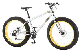 Mongoose Men's Malus Fat Tire Bicycle with 26″ Wheels, Silver, 18″/Medium