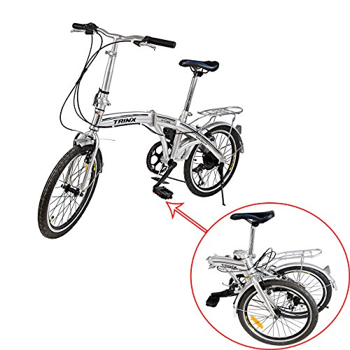 Ridgeyard Portable 6 Speed Folding Bike Silver Fold Storage School Sports Shimano 20 Inch Foldable Bicycle