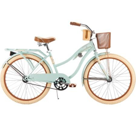 Huffy #54576 Women's Nel Lusso Cruiser 24″ Bike, Mint, Wire Basket, 24″ x 2.125″ Cruiser Tires, 1 speed, Cruiser Handlebar