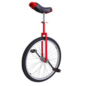 24″ Inch Red Steel Fork Frame Unicycle Wheel Training Style Cycling w/ Stand Release Comfy Saddle Seat Rubber Tire Adjustable Height Balance Mountain Exercise Bike