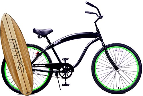 Fito Modena Sport II Single 1-speed for Man – Matte Black / Green, 26″ Wheel Beach Cruiser Bike
