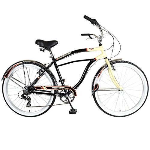 Victory Touring 726M Cruiser Bike, 26 inch Wheels, 19 inch Frame, Men's Bike, Black