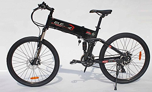 ELECYCLE 26 Inch Aluminum Electric Bicycle Shimano 21 Speeds Mountain Bike with Disc Brakes (Black)