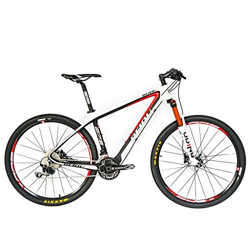 BEIOU® Carbon Fiber 650B Mountain Bike 27.5-Inch 10.7kg T800 Ultralight Frame 30 Speed SHIMANO M610 DEORE MTB Glossy 3K CB20 (White&Red, 17-Inch)