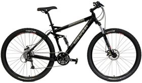 Dawes Roundhouse 2900 Mountain Bike Shimano 27 Speed 29 inch Wheels Full Suspension Bike Lockout Suspension Fork (Black, 19in)