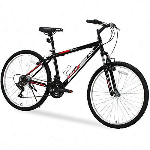 GTM 26″ 18 Speed MTB Mountain Bike Shimano Hybrid w/Water Bottle Holder, Black Red