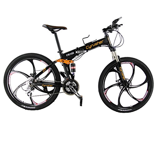 New Updated Cyrusher FR100 Black Shimano M310 ALTUS Full Suspenion 24 Speeds Folding Mens Mountain Bike Bicycle 17 in * 26 in Aluminium Frame Disc Brakes