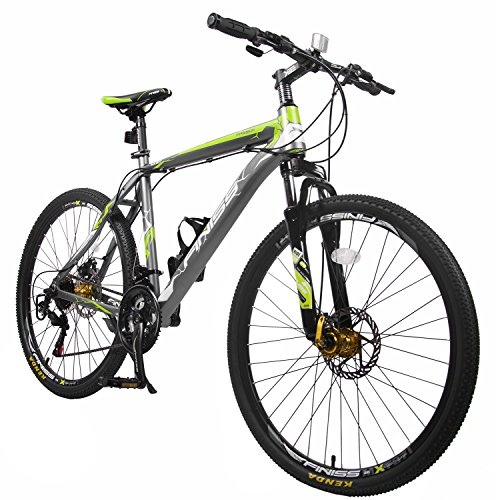 Merax Finiss 26″ Aluminum 21 Speed Mountain Bike with Disc Brakes (Fashion Gray&Green)