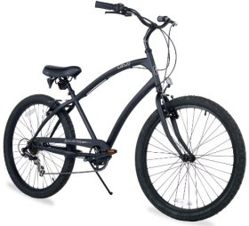 Firmstrong Men's CA-520 Seven Speed Beach Cruiser Bicycle, 26-Inch, Matte Black
